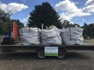 Photo of bulk bag hard wood logs on trailer 7th Sept 2018